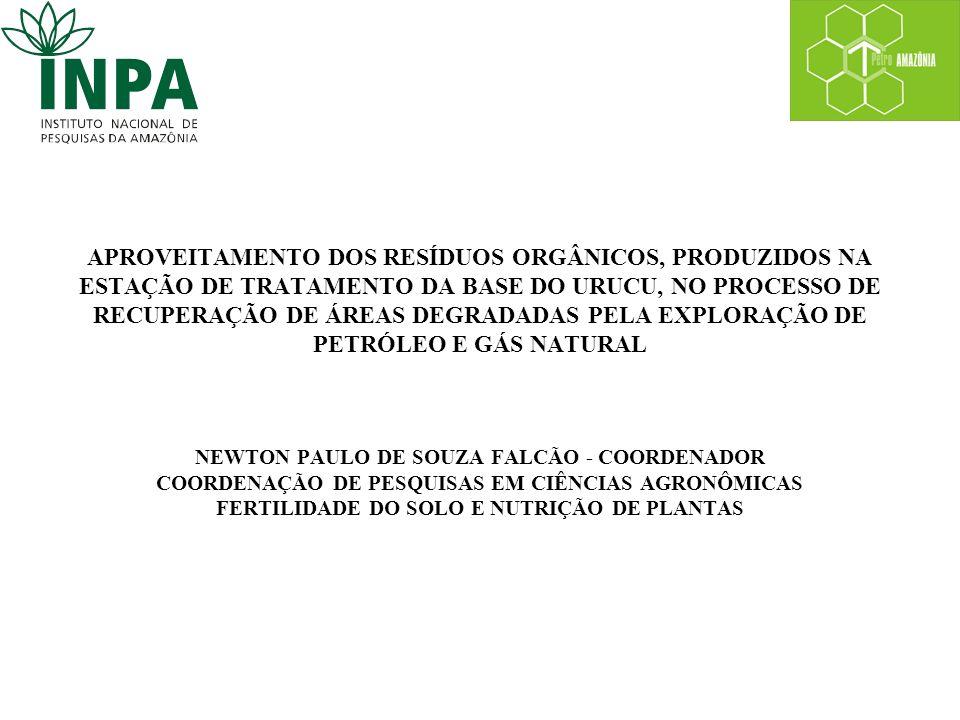 APROVEITAMENTO DOS RESÍDUOS ORGÂNICOS, PRODUZIDOS NA ESTAÇÃO DE TRATAMENTO DA BASE DO URUCU, NO PROCESSO DE RECUPERAÇÃO DE ÁREAS DEGRADADAS PELA EXPLORAÇÃO DE PETRÓLEO E GÁS NATURAL NEWTON PAULO DE SOUZA FALCÃO - COORDENADOR COORDENAÇÃO DE PESQUISAS EM CIÊNCIAS AGRONÔMICAS FERTILIDADE DO SOLO E NUTRIÇÃO DE PLANTAS