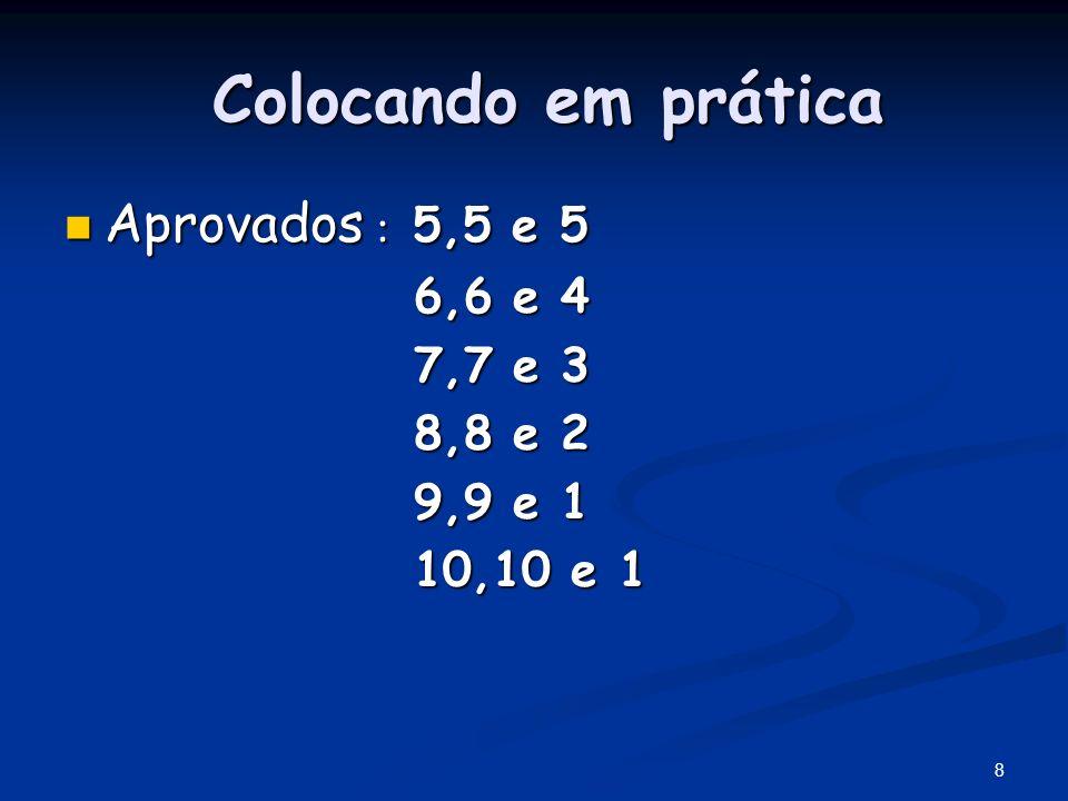 Colocando em prática Aprovados : 5,5 e 5 6,6 e 4 7,7 e 3 8,8 e 2