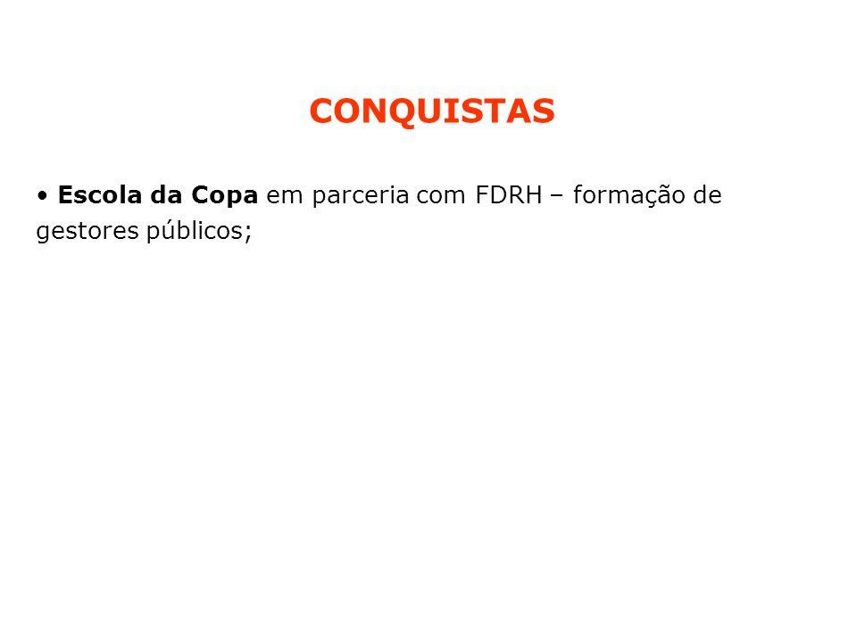 CONQUISTAS Escola da Copa em parceria com FDRH – formação de gestores públicos;