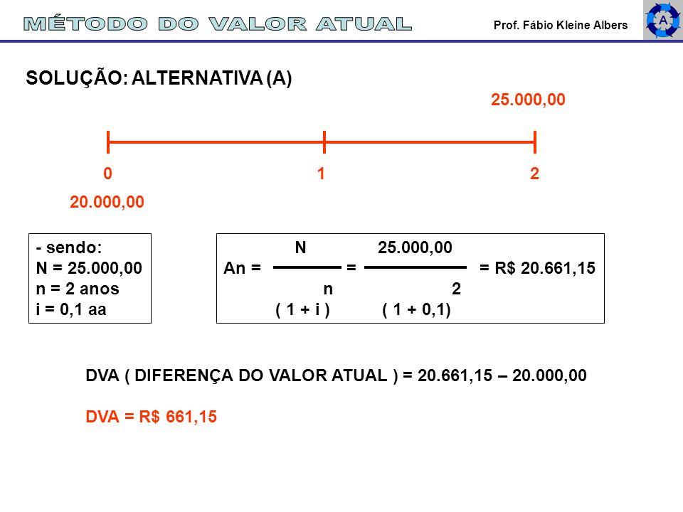 MÉTODO DO VALOR ATUAL SOLUÇÃO: ALTERNATIVA (A) 25.000,00 0 1 2
