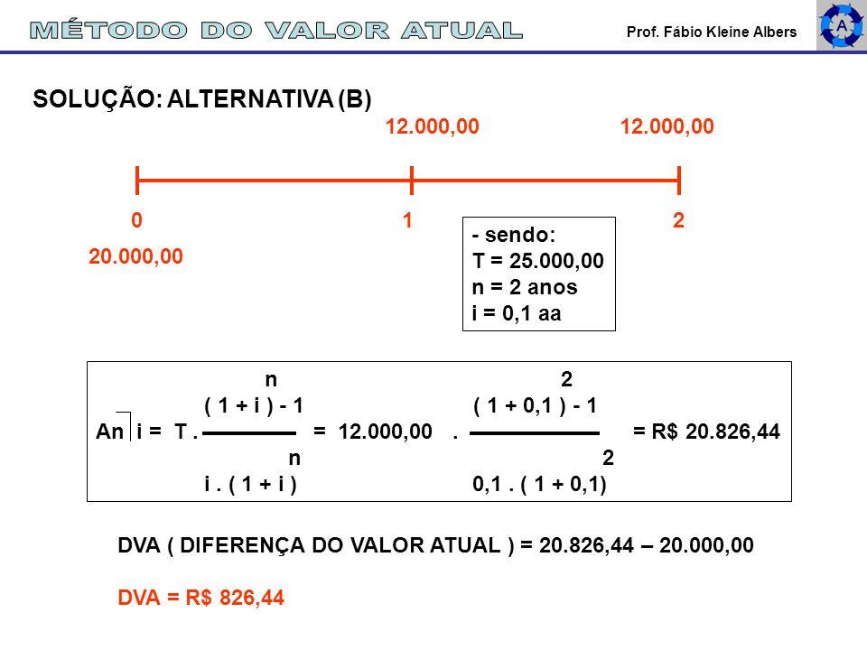 MÉTODO DO VALOR ATUAL SOLUÇÃO: ALTERNATIVA (B) 12.000,00 12.000,00