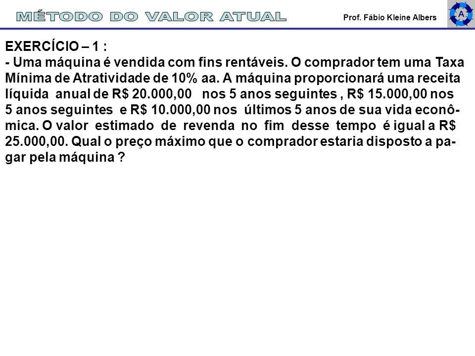 MÉTODO DO VALOR ATUAL EXERCÍCIO – 1 :
