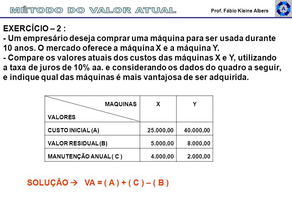 MÉTODO DO VALOR ATUAL EXERCÍCIO – 2 :