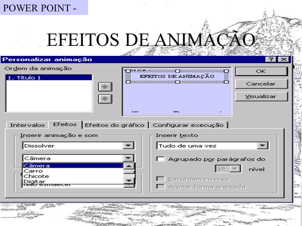 POWER POINT - EFEITOS DE ANIMAÇÃO