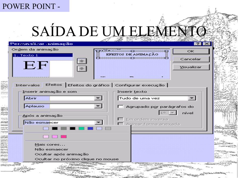 POWER POINT - SAÍDA DE UM ELEMENTO