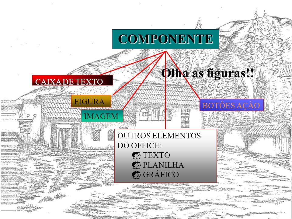 COMPONENTE Olha as figuras!! CAIXA DE TEXTO FIGURA BOTÕES AÇÃO IMAGEM