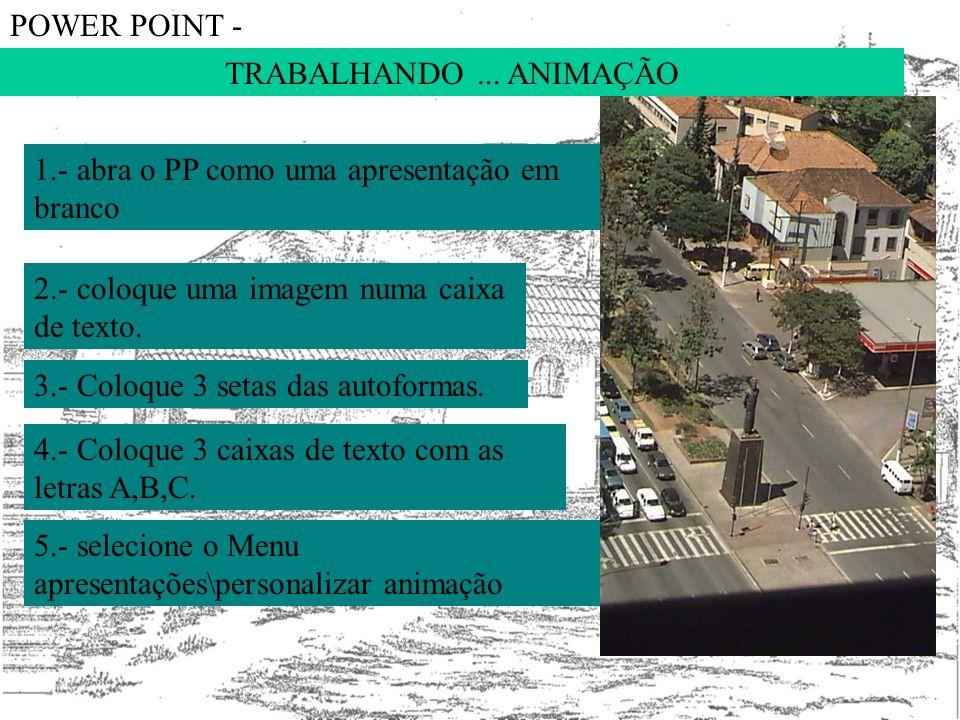 POWER POINT - TRABALHANDO ... ANIMAÇÃO. 1.- abra o PP como uma apresentação em branco. 2.- coloque uma imagem numa caixa de texto.