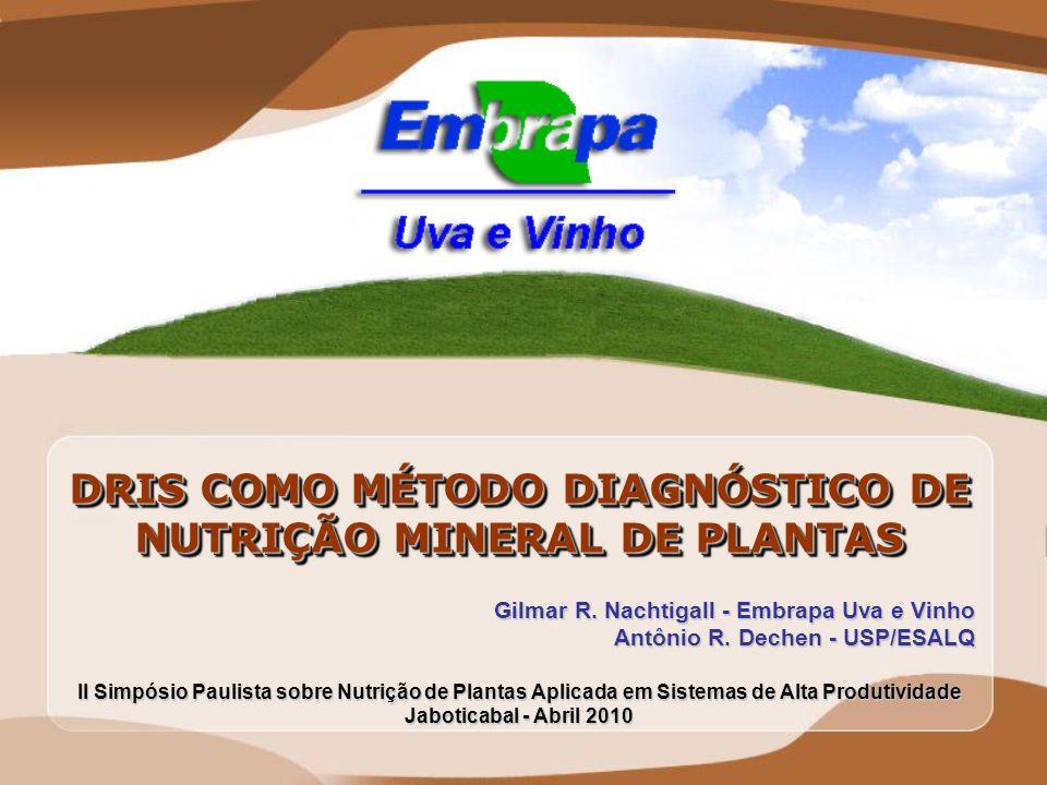 DRIS COMO MÉTODO DIAGNÓSTICO DE NUTRIÇÃO MINERAL DE PLANTAS