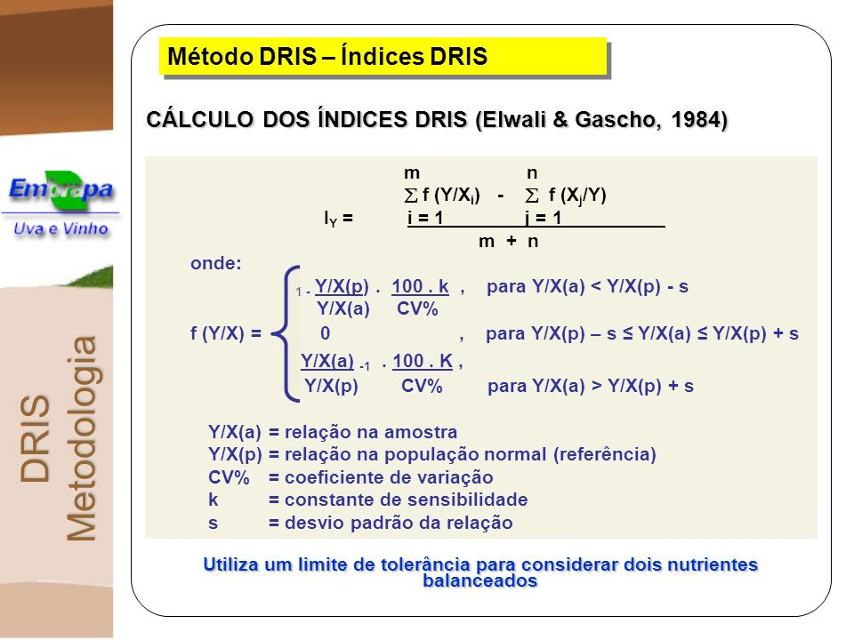 DRIS Metodologia Método DRIS – Índices DRIS