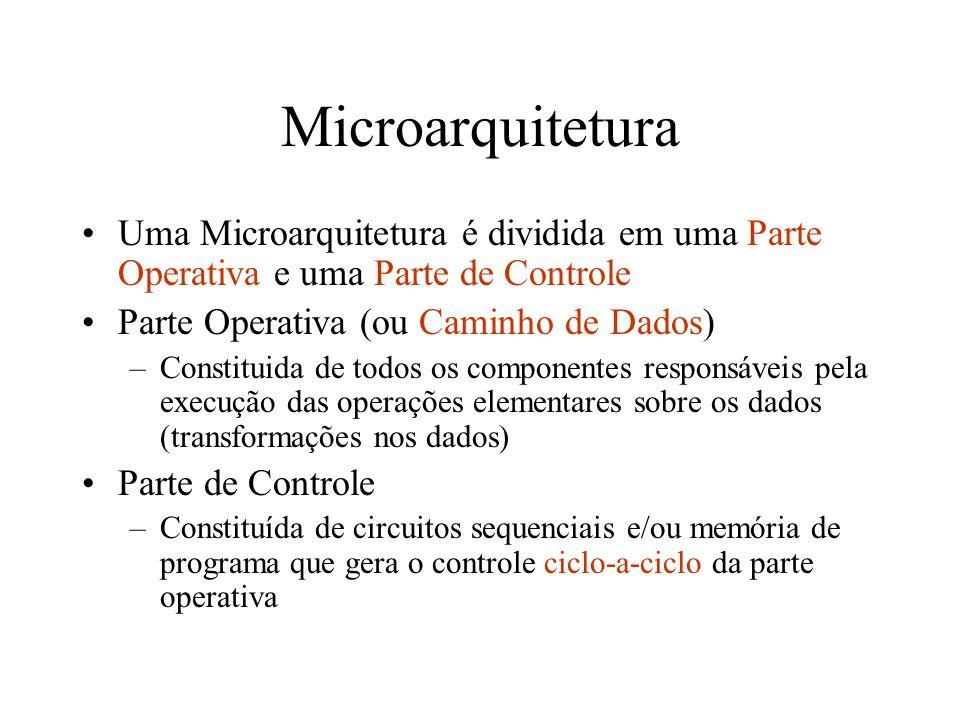 Microarquitetura Uma Microarquitetura é dividida em uma Parte Operativa e uma Parte de Controle. Parte Operativa (ou Caminho de Dados)
