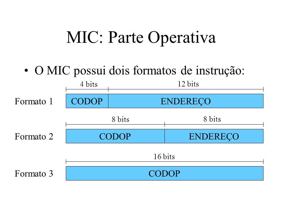 MIC: Parte Operativa O MIC possui dois formatos de instrução: