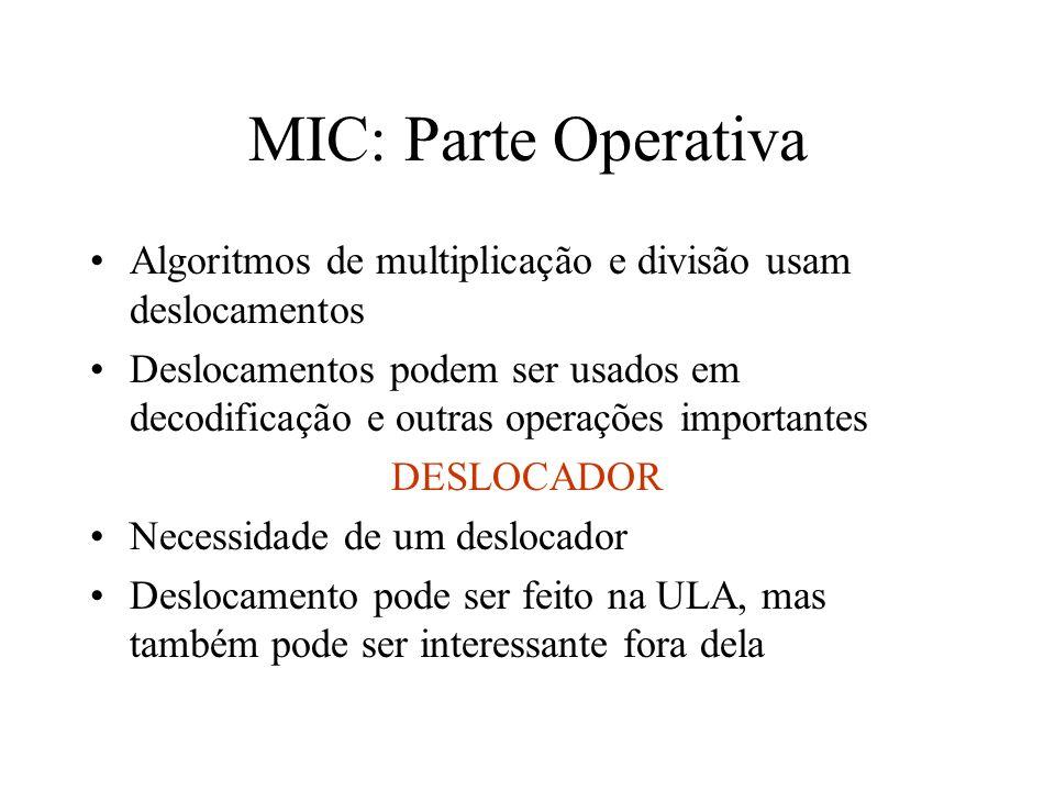 MIC: Parte Operativa Algoritmos de multiplicação e divisão usam deslocamentos.