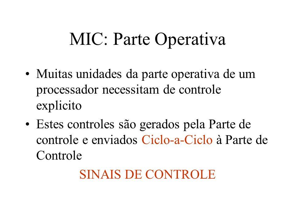 MIC: Parte Operativa Muitas unidades da parte operativa de um processador necessitam de controle explicito.