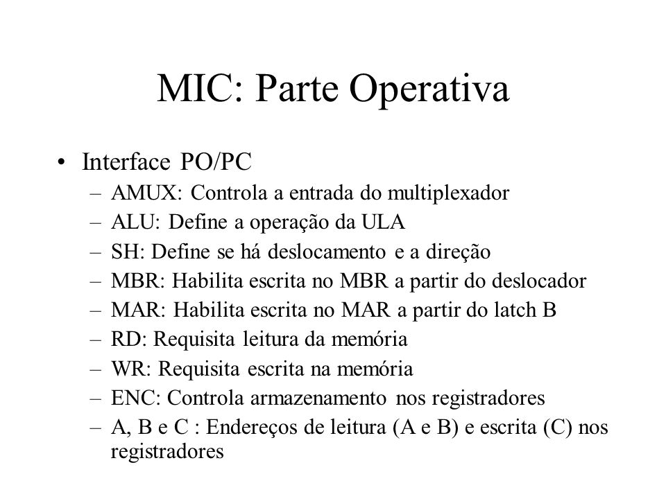 MIC: Parte Operativa Interface PO/PC