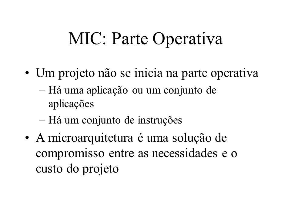 MIC: Parte Operativa Um projeto não se inicia na parte operativa