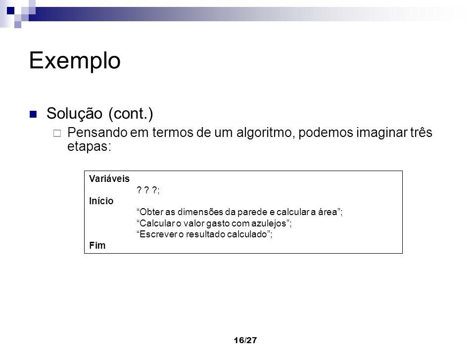 Exemplo Solução (cont.)