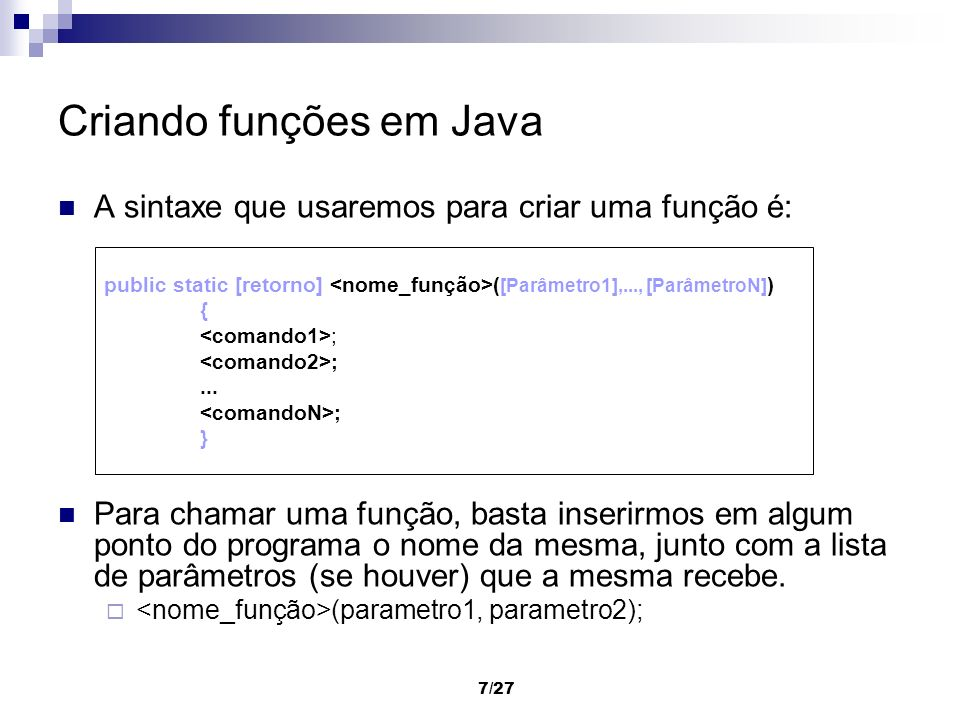 Criando funções em Java