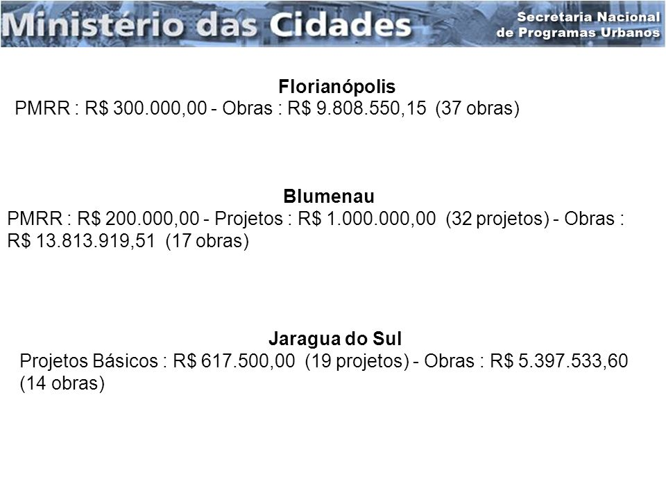Florianópolis PMRR : R$ 300.000,00 - Obras : R$ 9.808.550,15 (37 obras) Blumenau.