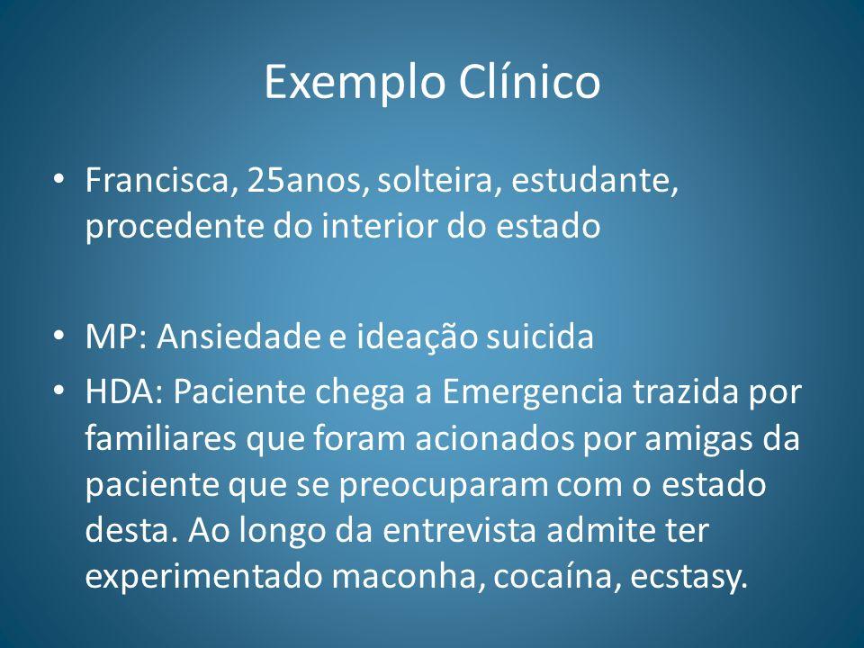 Exemplo ClínicoFrancisca, 25anos, solteira, estudante, procedente do interior do estado. MP: Ansiedade e ideação suicida.