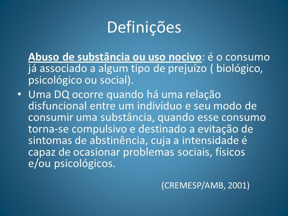 DefiniçõesAbuso de substância ou uso nocivo: é o consumo já associado a algum tipo de prejuízo ( biológico, psicológico ou social).