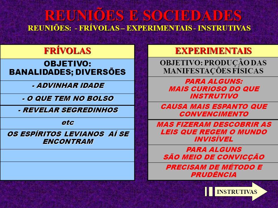 REUNIÕES E SOCIEDADES REUNIÕES: - FRÍVOLAS – EXPERIMENTAIS - INSTRUTIVAS