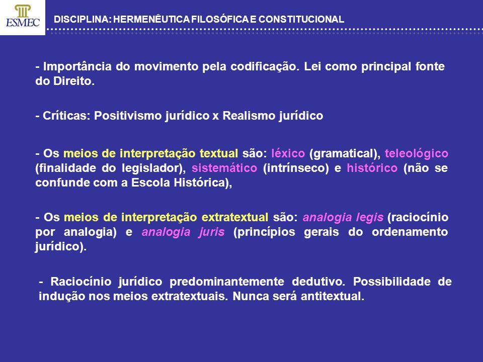 - Críticas: Positivismo jurídico x Realismo jurídico