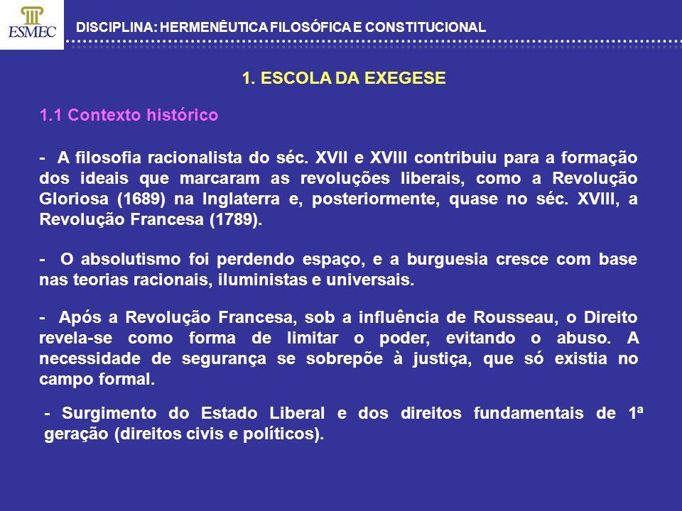 1. ESCOLA DA EXEGESE 1.1 Contexto histórico