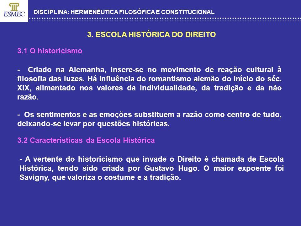 3. ESCOLA HISTÓRICA DO DIREITO