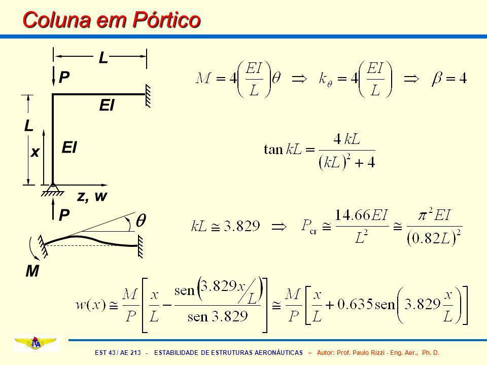 Coluna em Pórtico P L x z, w EI q M