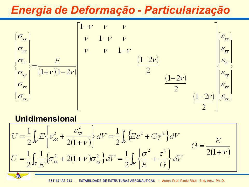 Energia de Deformação - Particularização