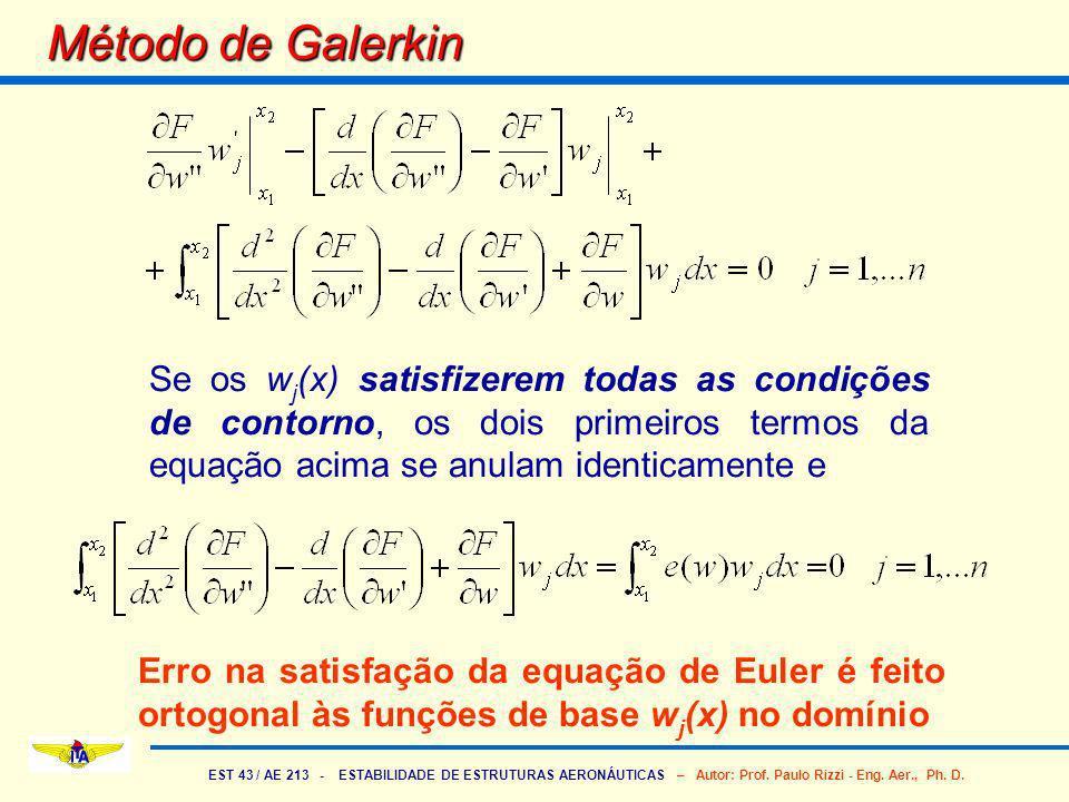 Método de Galerkin Se os wj(x) satisfizerem todas as condições de contorno, os dois primeiros termos da equação acima se anulam identicamente e.