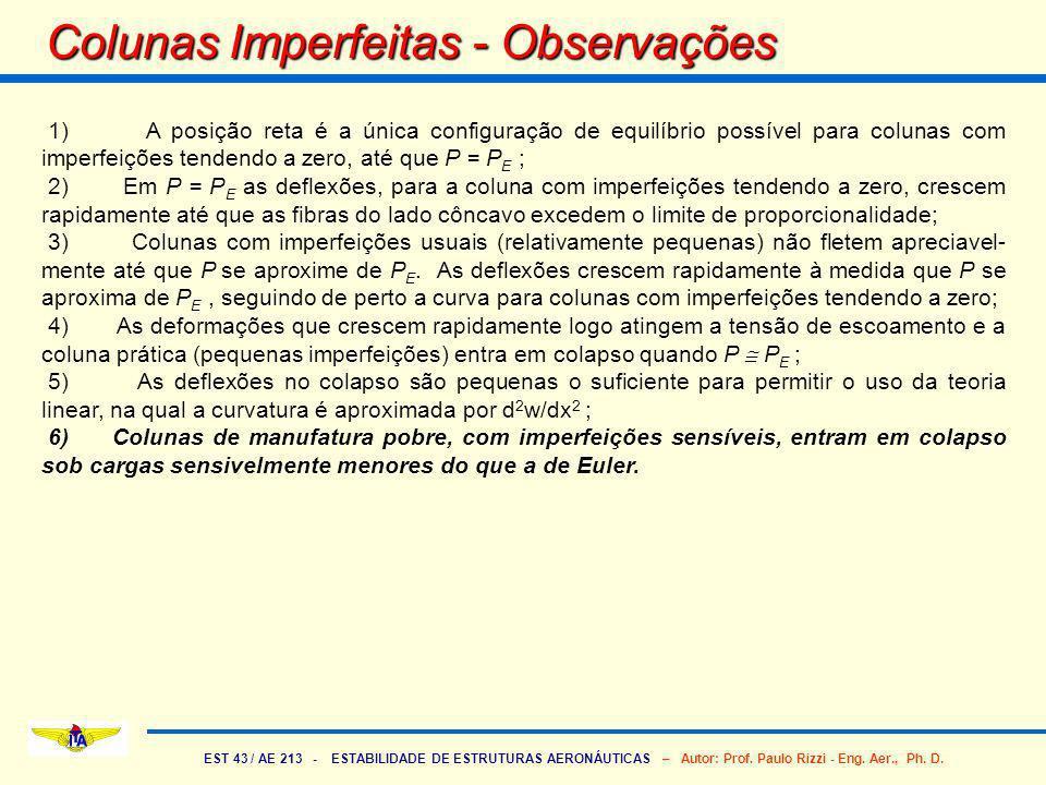 Colunas Imperfeitas - Observações