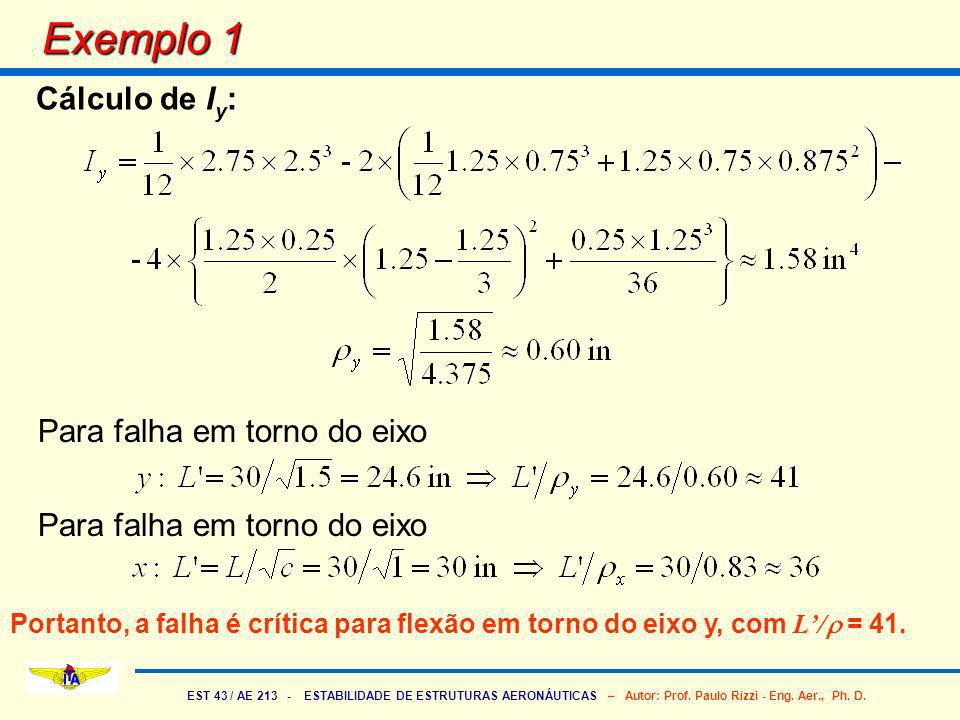 Exemplo 1 Cálculo de Iy: Para falha em torno do eixo