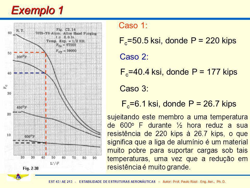 Exemplo 1 Caso 1: Fc=50.5 ksi, donde P = 220 kips Caso 2: