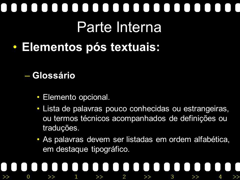 Parte Interna Elementos pós textuais: Glossário Elemento opcional.
