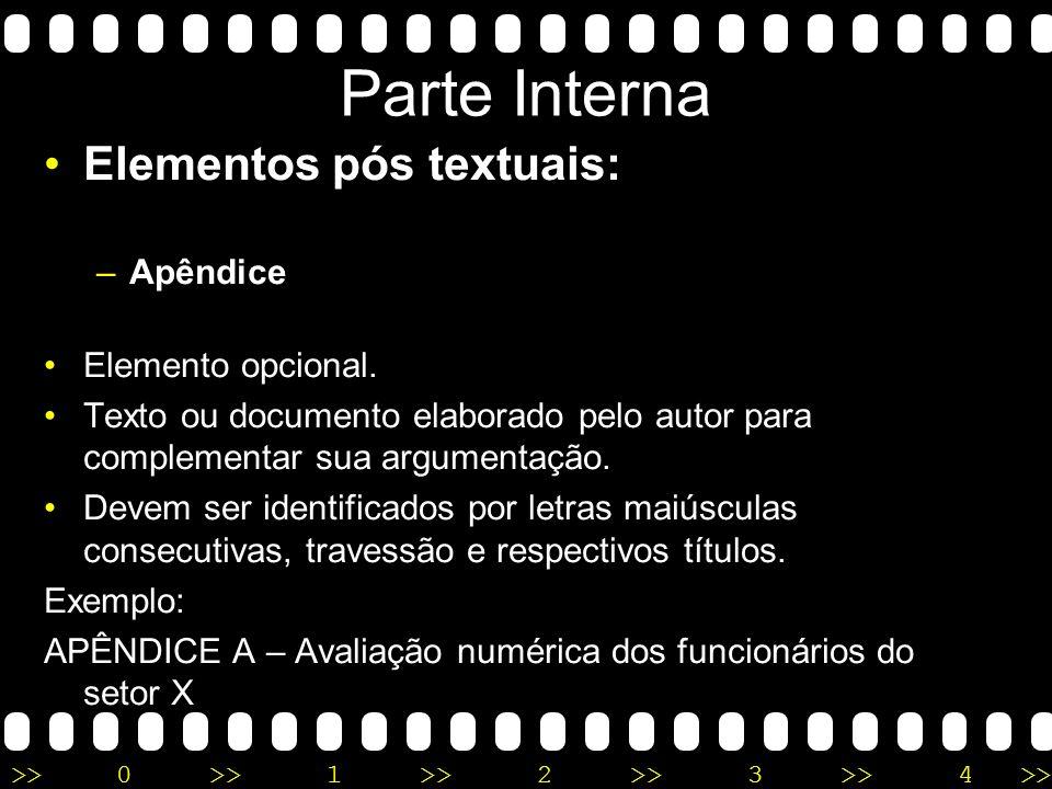 Parte Interna Elementos pós textuais: Apêndice Elemento opcional.