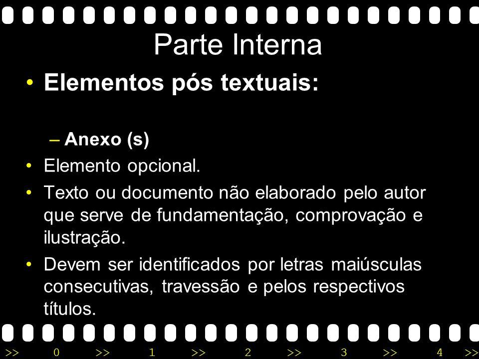 Parte Interna Elementos pós textuais: Anexo (s) Elemento opcional.