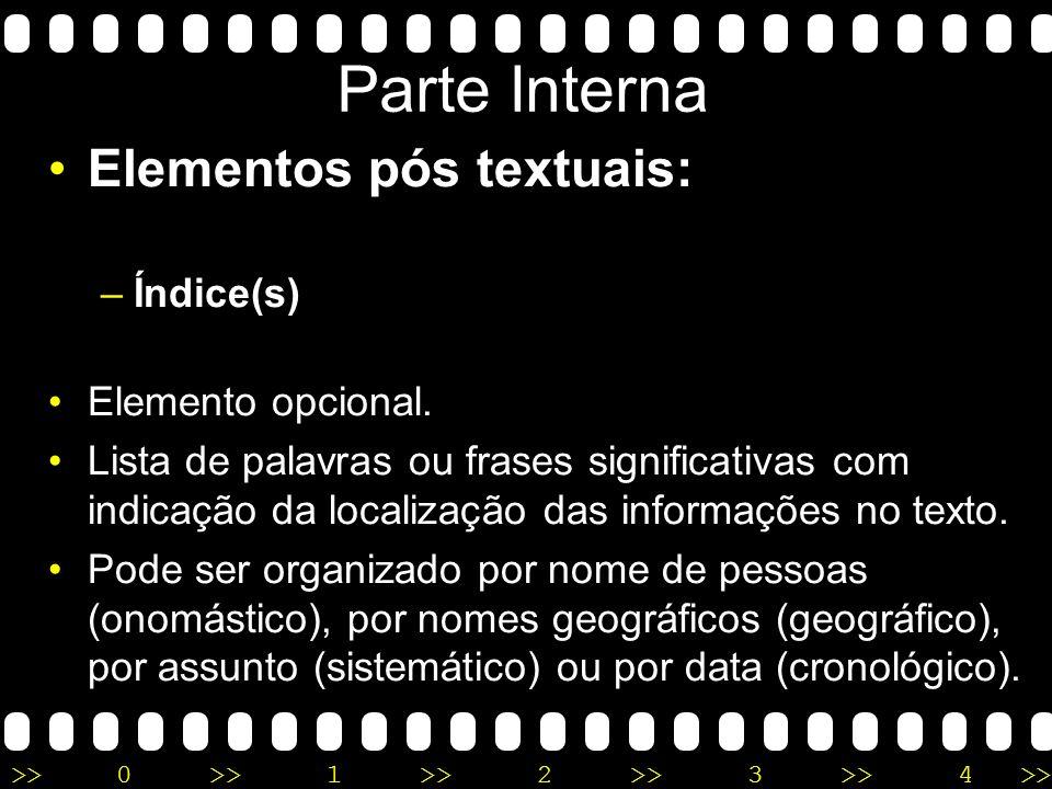 Parte Interna Elementos pós textuais: Índice(s) Elemento opcional.