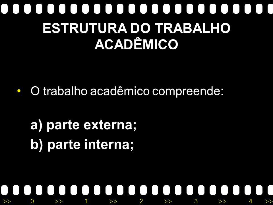 ESTRUTURA DO TRABALHO ACADÊMICO