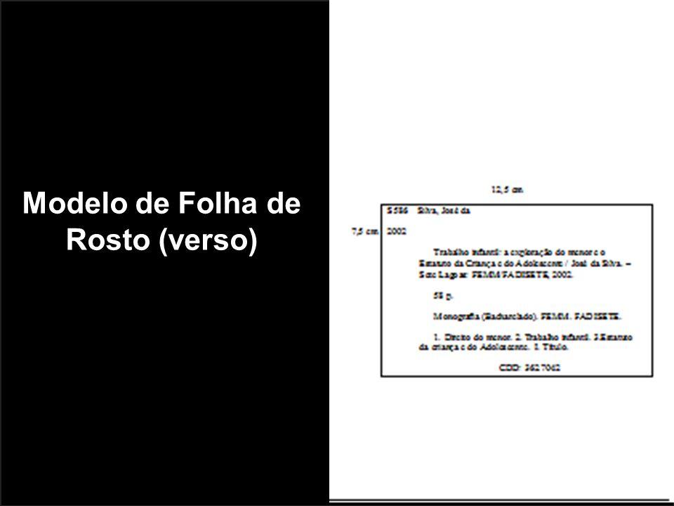 Modelo de Folha de Rosto (verso)