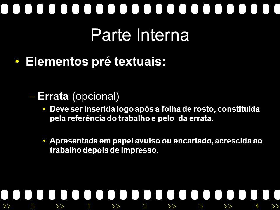 Parte Interna Elementos pré textuais: Errata (opcional)
