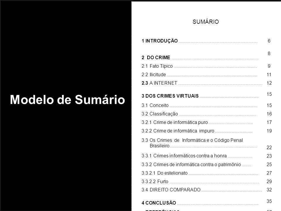 Modelo de Sumário SUMÁRIO