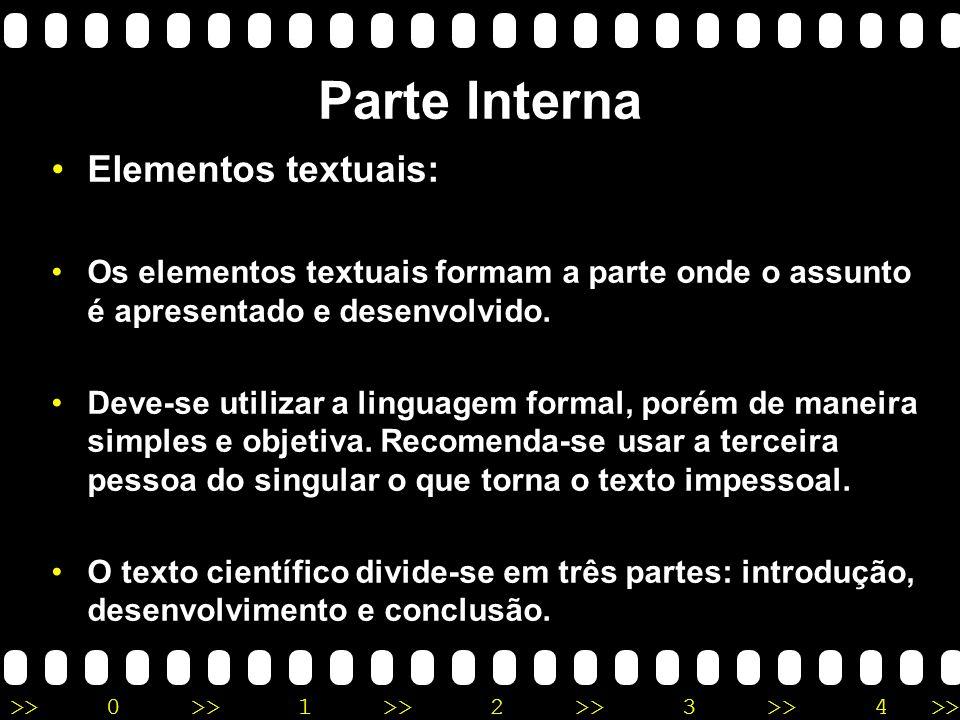 Parte Interna Elementos textuais: