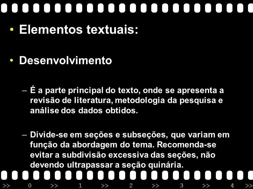 Elementos textuais: Desenvolvimento