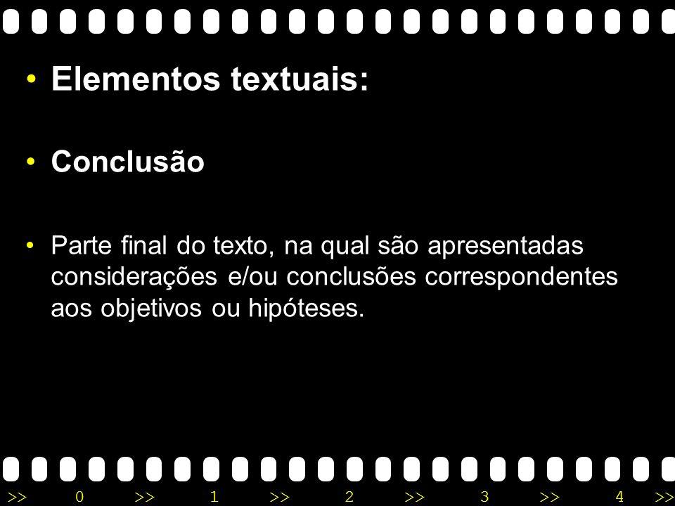Elementos textuais: Conclusão
