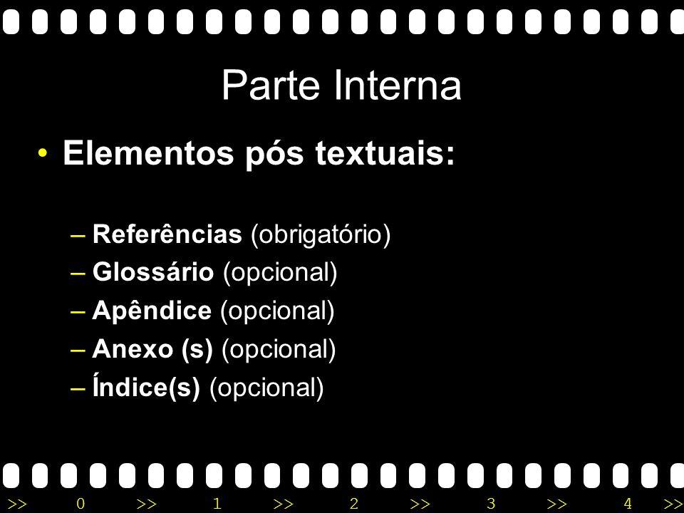 Parte Interna Elementos pós textuais: Referências (obrigatório)