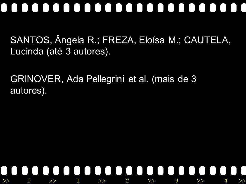 SANTOS, Ângela R.; FREZA, Eloísa M.; CAUTELA, Lucinda (até 3 autores).