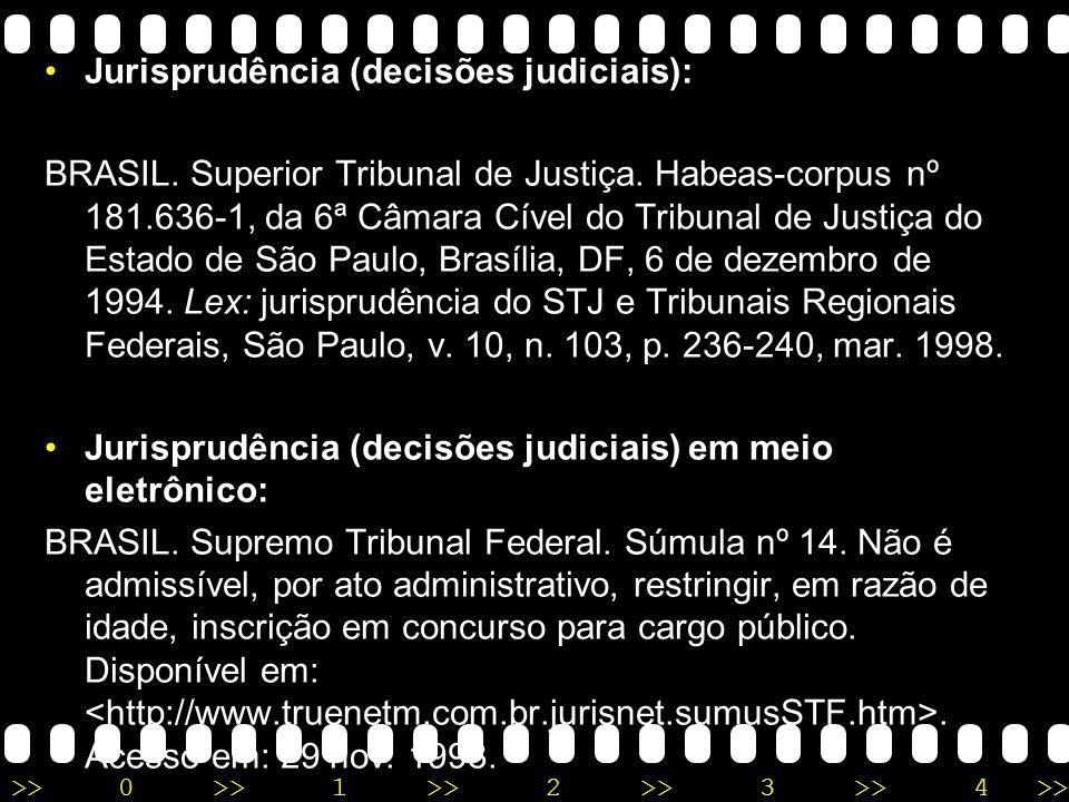 Jurisprudência (decisões judiciais):