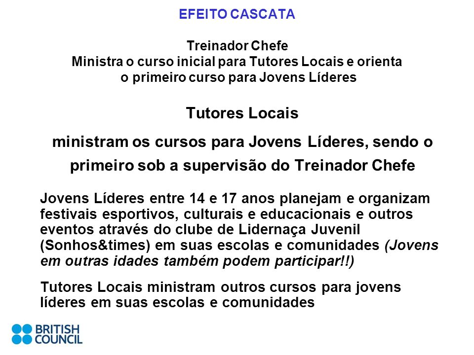 EFEITO CASCATA Treinador Chefe Ministra o curso inicial para Tutores Locais e orienta o primeiro curso para Jovens Líderes