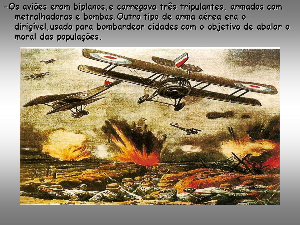 -Os aviões eram biplanos,e carregava três tripulantes, armados com metralhadoras e bombas.Outro tipo de arma aérea era o dirigível,usado para bombardear cidades com o objetivo de abalar o moral das populações.